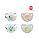 Nuk - Bộ 2c ty giả Night/Day silicone 0-6m (hồng)