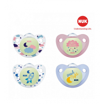 Nuk - Bộ 2c ty giả Night/Day silicone 6-18m (hồng)